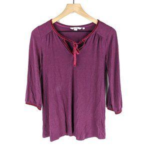 Boden Burgundy Velvet Edge Tunic Blouse Size 4